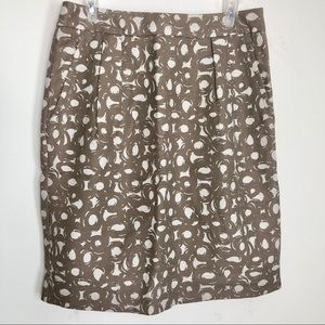 Boden Linen Taupe Printed Pencil Skirt
